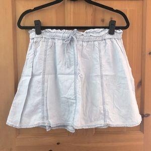Chambray A-line mini skirt